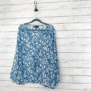 Lane Bryant - Blue Floral Sheer Blouse - 18/20